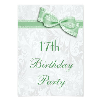17th Birthday Party Damask and Faux Bow Card