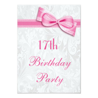 17th Birthday Party Damask and Pink Faux Bow Card