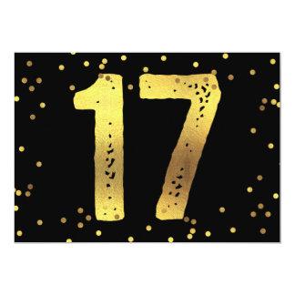17th Birthday Party Faux Gold Foil Confetti Black Card