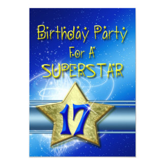 17th Birthday party Invitation for a Superstar.