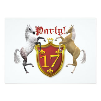 17th Birthday party invitation with coat of arms