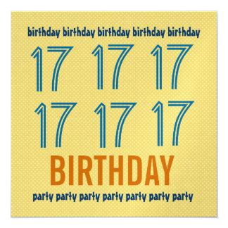 17th Birthday Party Invite Polka Dot Metallic