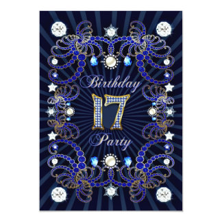 17th birthday party invite with masses of jewels