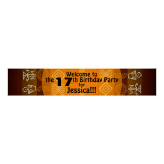 17th Birthday Party Personalized Banner 60x11 Poster