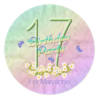 17th Birthday Party Rainbow and Butterflies Card