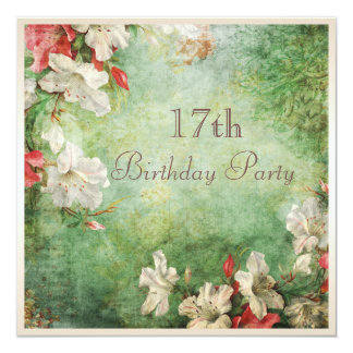 """17th Birthday Party Shabby Chic Hibiscus Flowers 5.25"""" Square Invitation Card"""
