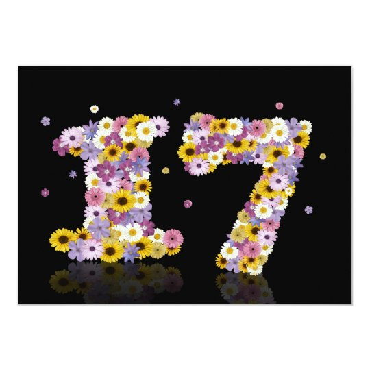 17th Birthday party, with flowered letters Card