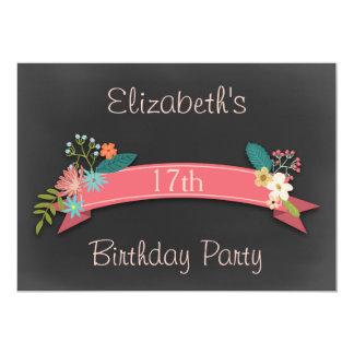 17th Birthday Pink Banner Flowers Chalkboard Card