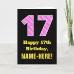 "[ Thumbnail: 17th Birthday: Pink Stripes and Hearts ""17"" + Name Card ]"