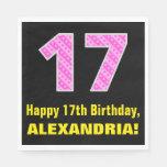 "[ Thumbnail: 17th Birthday: Pink Stripes and Hearts ""17"" + Name Napkins ]"