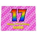 [ Thumbnail: 17th Birthday: Pink Stripes & Hearts, Rainbow # 17 Gift Bag ]