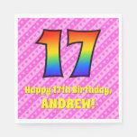 [ Thumbnail: 17th Birthday: Pink Stripes & Hearts, Rainbow # 17 Napkins ]
