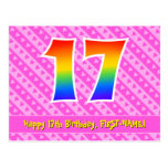 [ Thumbnail: 17th Birthday: Pink Stripes & Hearts, Rainbow 17 Postcard ]