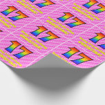 [ Thumbnail: 17th Birthday: Pink Stripes & Hearts, Rainbow # 17 Wrapping Paper ]