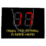 "[ Thumbnail: 17th Birthday: Red Digital Clock Style ""17"" + Name Gift Bag ]"