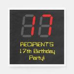 "[ Thumbnail: 17th Birthday: Red Digital Clock Style ""17"" + Name Napkins ]"