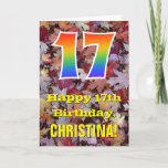 "[ Thumbnail: 17th Birthday; Rustic Autumn Leaves; Rainbow ""17"" Card ]"
