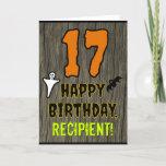 [ Thumbnail: 17th Birthday: Spooky Halloween Theme, Custom Name Card ]