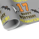 [ Thumbnail: 17th Birthday: Spooky Halloween Theme, Custom Name Wrapping Paper ]