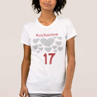 17th Birthday Teen Girl Oodles of Hearts 17 Years T-Shirt