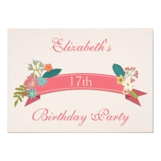 17th Birthday Vintage Flowers Pink Banner Card