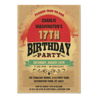 17th Birthday Vintage Typography Grunge Personalized Announcement