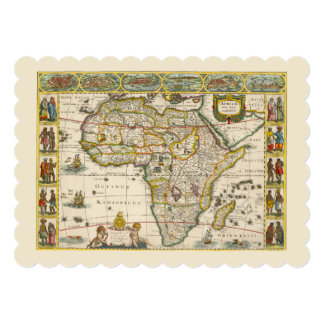 17th Centry Antique Map of Africa, Jan Jansson 5x7 Paper Invitation Card