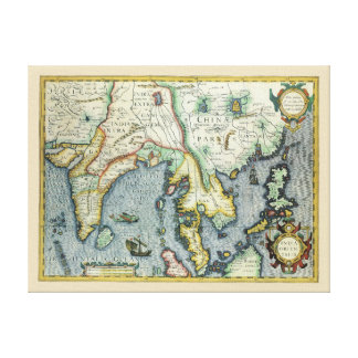 17th Century Antique Asian Map, Mercator / Hondius Canvas Print