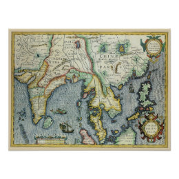 17th Century Antique Asian Map, Mercator / Hondius Poster