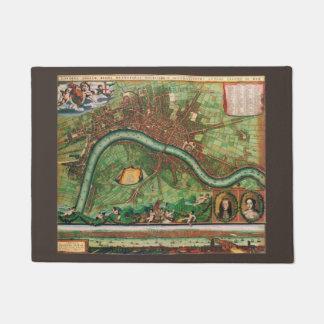 17th Century Antique London, England Street Map Doormat