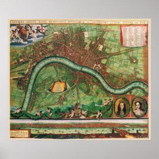 17th Century Antique London, England Street Map Poster