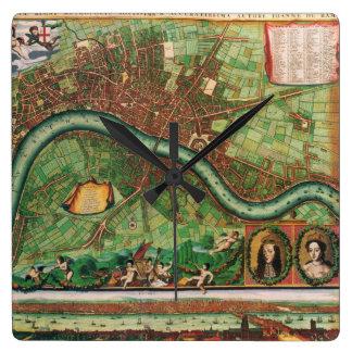 17th Century Antique London, England Street Map Square Wall Clock