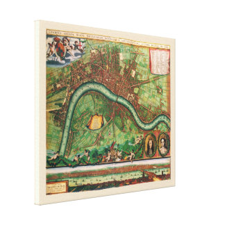 17th Century Antique London Street Map Canvas Print