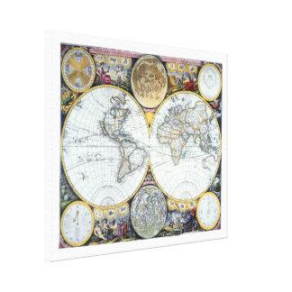 17th Century Antique World Map by John Seller Canvas Print
