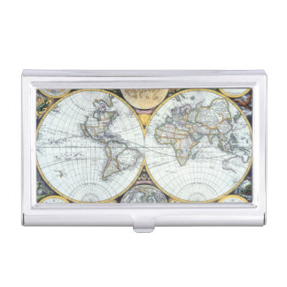 17th Century Antique World Map by John Seller Case For Business Cards