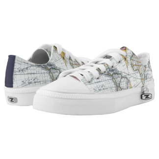 17th Century Antique World Map by John Seller Low-Top Sneakers