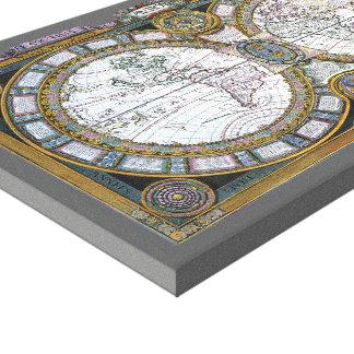 17th Century Antique World Map, c. 1688 Canvas Print