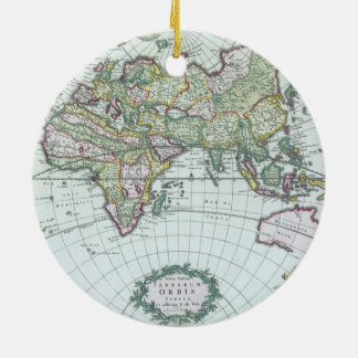 17th Century Antique World Map, Frederick De Wit Ceramic Ornament