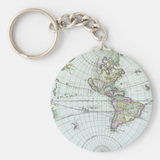 17th Century Antique World Map, Frederick De Wit Keychain