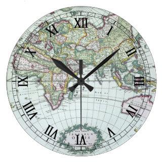 17th Century Antique World Map, Frederick De Wit Large Clock