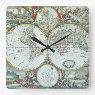 17th Century Antique World Map, Frederick De Wit Square Wall Clock