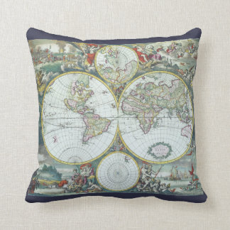 17th Century Antique World Map, Frederick De Wit Throw Pillow