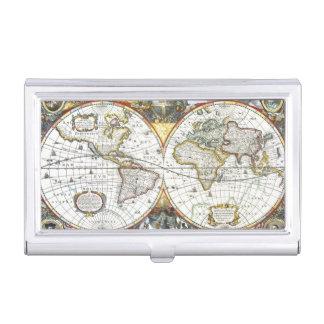 17th Century Antique World Map, Hendrik Hondius Business Card Holder