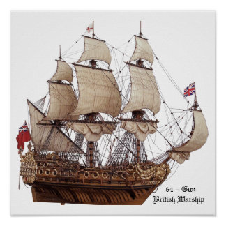 17Th Century British Warship Model Poster