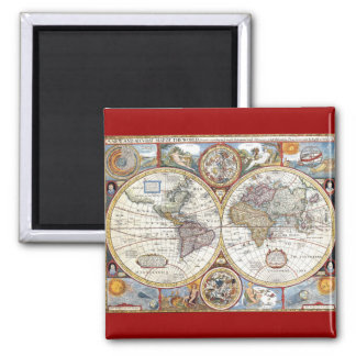 17th Century Dual Hemisphere World Map 2 Inch Square Magnet