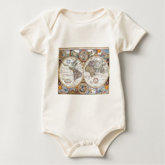 17th Century Dual Hemisphere World Map Baby Bodysuit
