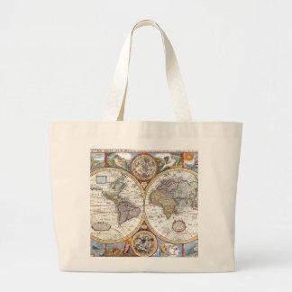17th Century Dual Hemisphere World Map Tote Bags
