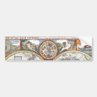 17th Century Dual Hemisphere World Map Bumper Sticker