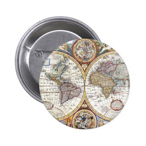 17th Century Dual Hemisphere World Map Pinback Button