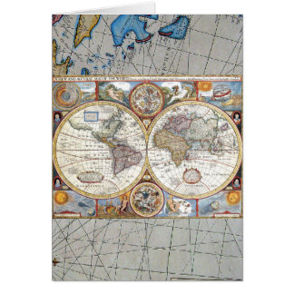 17th Century Dual Hemisphere World Map Card